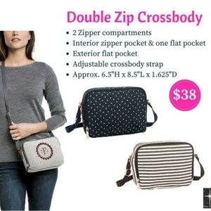 NIP NEW Thirty One 31 Double Zip Crossbody Two Tone Weave
